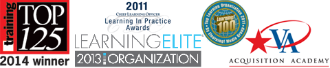 Training Top 125 2014 Winner! Chief Learning Officer 2011 Learning in Practice Awards. Learning Elite 2013 Organization. Top Learning Organization 2011 by Elearning! Media Group Learning! 100 and VAAA Logo