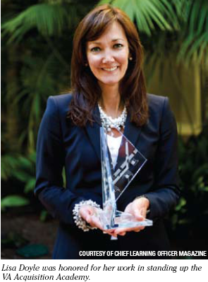 Lisa Doyle was honored for her work in standing up the VA Acquisition Academy. Picture courtesy of the Chief Learning Officer Magazine.